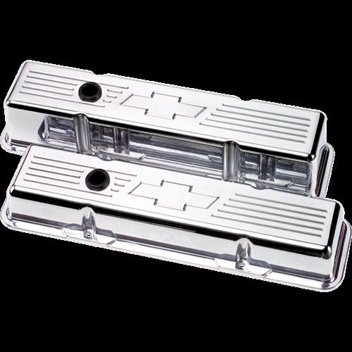 Billet Specialties Small Block Chevy Bowtie Valve Covers (Pair) 95121