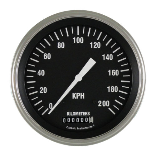 Classic Instruments Speedometer: 5-inch 200 KPH - Hot Rod Series HR58SLF